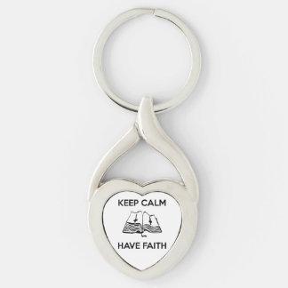 Keep Calm Have Faith Twisted Heart Metal Keychain