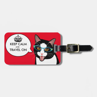 KEEP CALM Hipster Cat Geek Glasses Travel Tag
