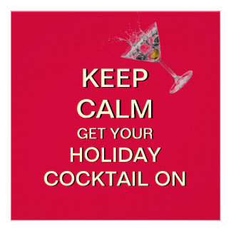Keep Calm Holiday Cocktails Invitation (Red)