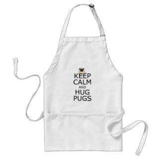 Keep Calm Hug Pugs Adult Apron