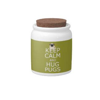 Keep Calm Hug Pugs Candy Jars