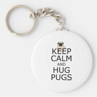 Keep Calm Hug Pugs Key Chains