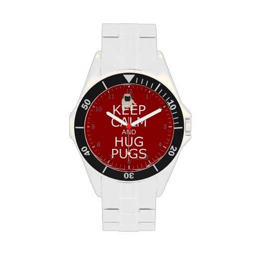 Keep Calm Hug Pugs Wristwatches