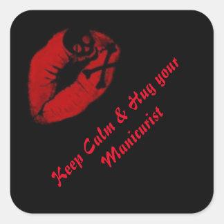 Keep calm & hug your manicust square sticker