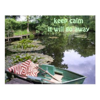 Keep calm, humerous postcard