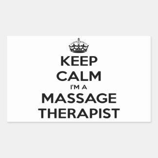 Keep Calm I Am A Massage Therapist Rectangular Sticker