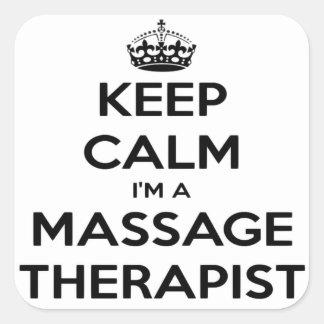 Keep Calm I Am A Massage Therapist Square Sticker