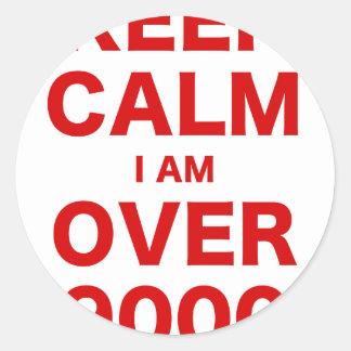 Keep Calm I am Over 9000 Classic Round Sticker