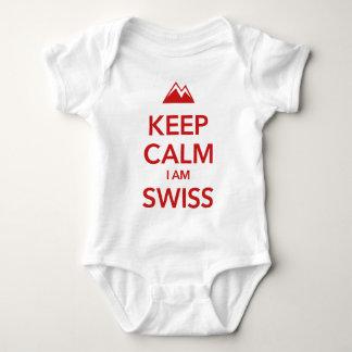 KEEP CALM I AM SWISS BABY BODYSUIT