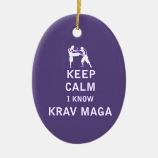 Keep Calm I Know Krav Maga Ceramic Ornament