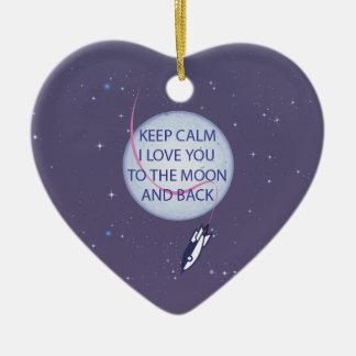 Keep Calm I Love You to the Moon and Back Christmas Tree Ornament