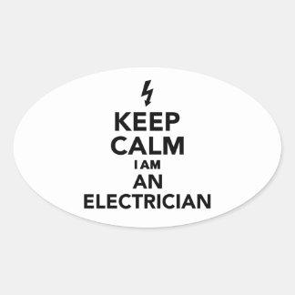 Keep calm I'm a electrician Oval Sticker