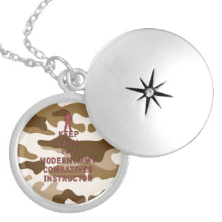 Keep Calm I'm a Modern Army Combatives Instructor Silver Plated Necklace
