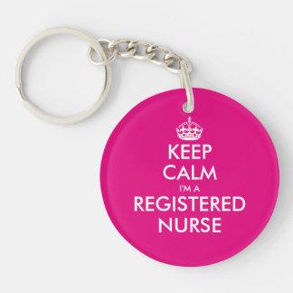 Keep calm i'm a registered nurse keychain