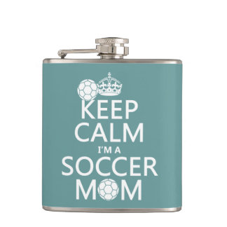 Keep Calm I'm a Soccer Mom (in any color) Flask