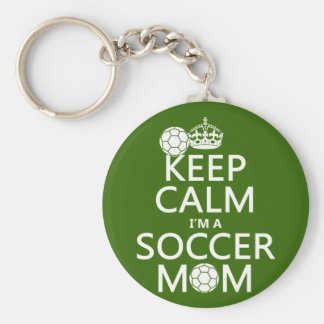 Keep Calm I'm a Soccer Mom (in any color) Basic Round Button Keychain