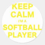 Keep Calm Im a Softball Player Classic Round Sticker