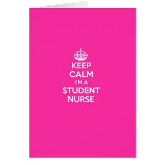 KEEP CALM I'M A STUDENT NURSE PINK NURSING GIFT GREETING CARDS