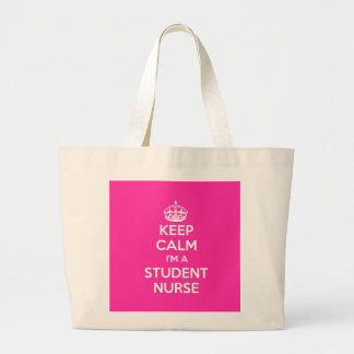KEEP CALM I'M A STUDENT NURSE PINK NURSING GIFT LARGE TOTE BAG