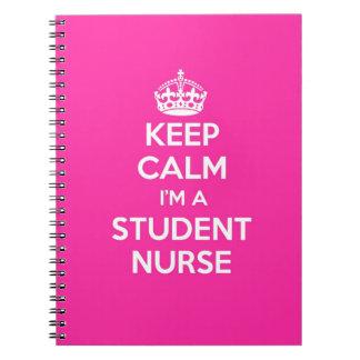 KEEP CALM I'M A STUDENT NURSE PINK NURSING GIFT SPIRAL NOTEBOOK