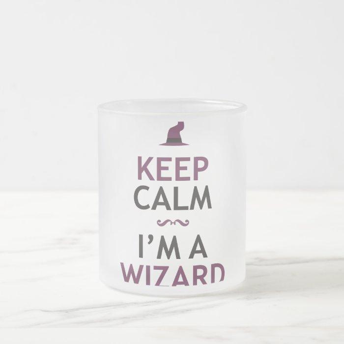 Keep Calm I'm A Wizard Frosted Glass Coffee Mug