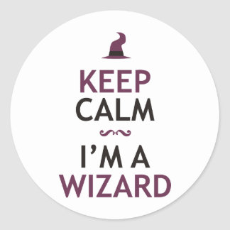 Keep Calm I'm A Wizard Round Stickers