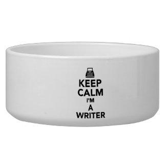 Keep calm I'm a Writer Dog Food Bowls