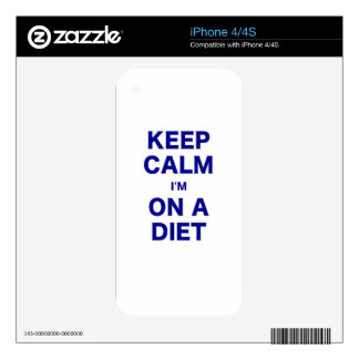 Keep Calm Im On a Diet Skins For iPhone 4