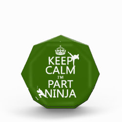 Small Acrylic Octagon Award with Keep Calm I'm Part Ninja design