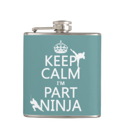 Vinyl Wrapped Flask, 6 oz. with Keep Calm I'm Part Ninja design