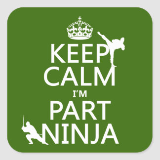 Keep Calm I'm Part Ninja (in any color) Square Sticker