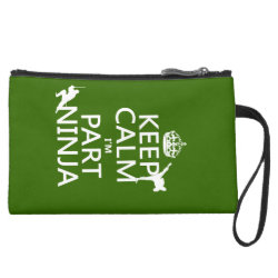 Sueded Mini Clutch with Keep Calm I'm Part Ninja design