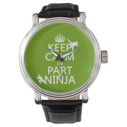 Men's Vintage Black Leather Strap Watch with Keep Calm I'm Part Ninja design