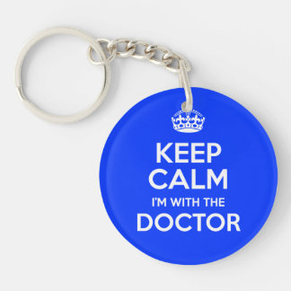 Keep Calm I'm With The Doctor (with crown) Key Chains