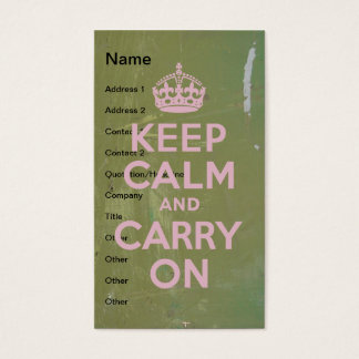 Keep Calm in Pink on Olive Paint Business Card