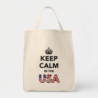 Keep Calm in the USA (Black).png Grocery Tote Bag