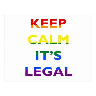 Keep Calm It's Legal Support LGBT Postcard