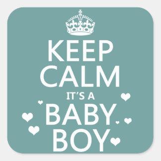 Keep Calm It's A Baby Boy Square Sticker