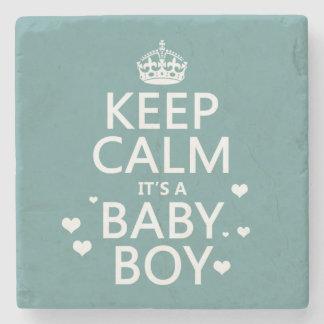 Keep Calm It's A Boy Stone Beverage Coaster