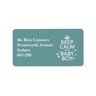 Keep Calm It's A Boy Labels