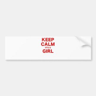 Keep Calm Its a Girl Car Bumper Sticker