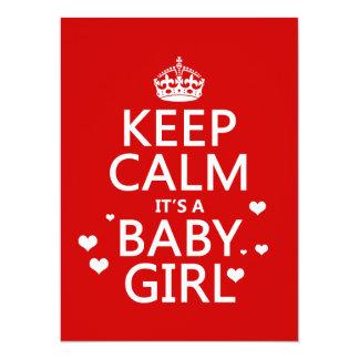Keep Calm It's a Girl 5.5x7.5 Paper Invitation Card