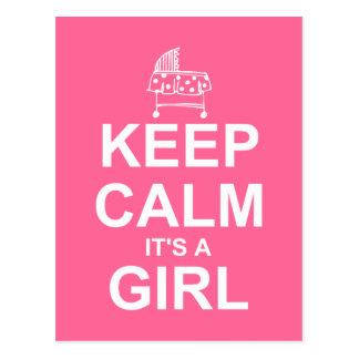 Keep Calm It's A Girl Postcard Shower Invitation