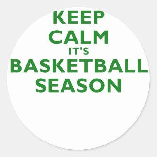 Keep Calm its Basketball Season Classic Round Sticker
