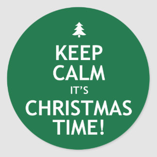 Keep Calm It's Christmas Time Classic Round Sticker
