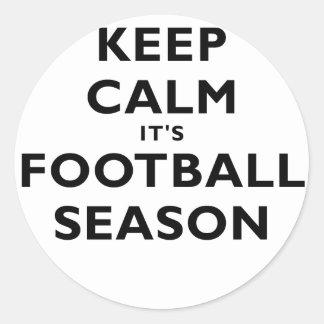 Keep Calm its Football Season Round Stickers