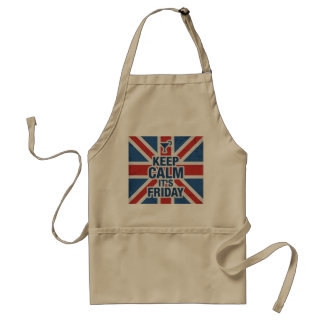 """""""Keep Calm it's Friday"""" Funny relax chill Adult Apron"""