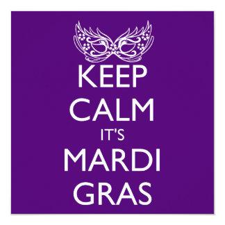 KEEP CALM IT'S MARDI GRAS SEASON 5.25X5.25 SQUARE PAPER INVITATION CARD
