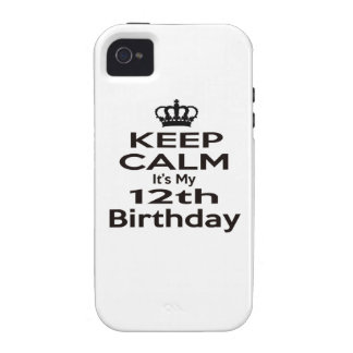 Keep Calm It's My 12th Birthday iPhone 4 Cover