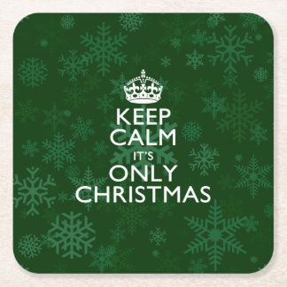 Keep Calm It's Only Christmas Square Paper Coaster